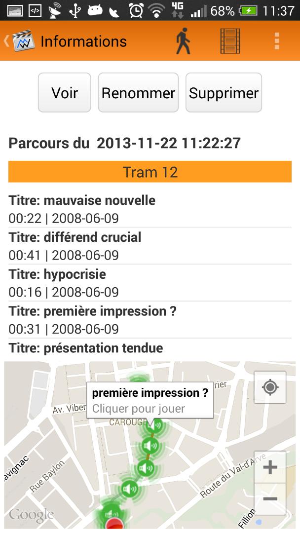 Ecran activité: Les déplacements ainsi que l'activité de l'utilisateur sont détectés lors de l'enregistrement du film.