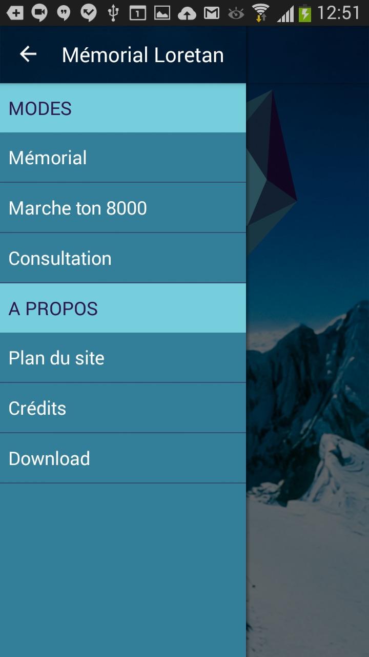 Les menus pour accéder aux activités.