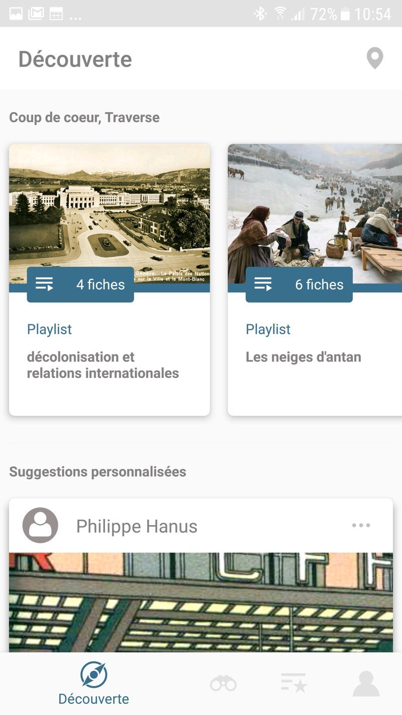 Homepage de l'application