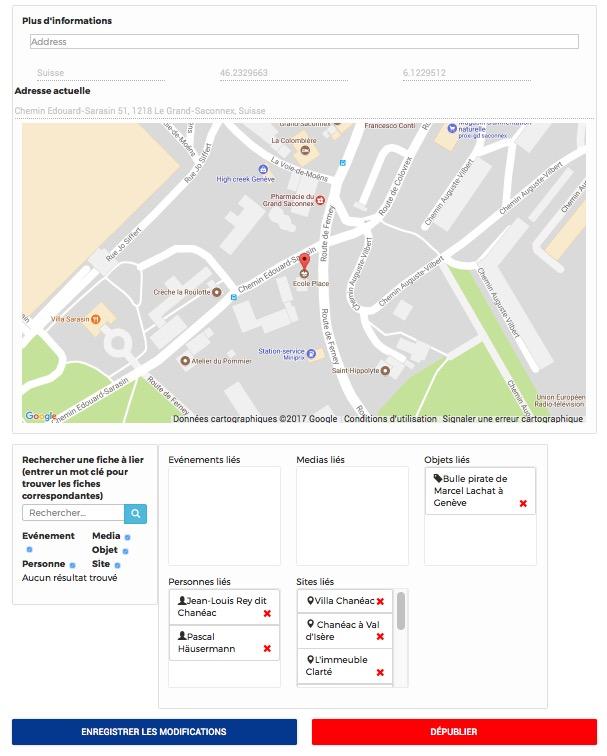 Une autre fiche: géolocalisation et mises en lien de fiches (associations)